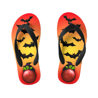 Red Crystal Ball Witch and Bats Kid's Flip Flops