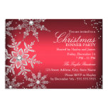 "Red Crystal Snowflake Christmas Dinner Party 5"" X 7"" Invitation Card"