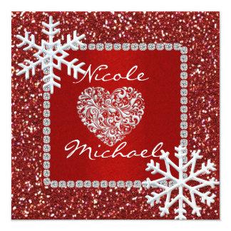 "RED CRYSTALS Wedding Invitation & SNOWFLAKES 5.25"" Square Invitation Card"