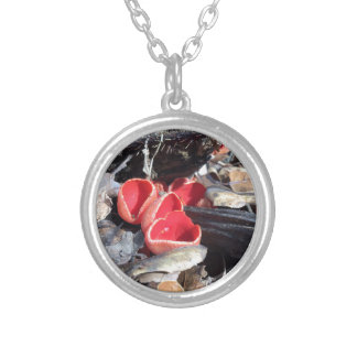 Red Cup Fungus Silver Plated Necklace