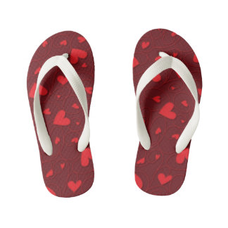 Red curly hearts kid's flip flops