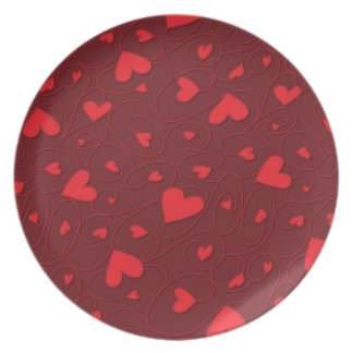 Red curly hearts plate