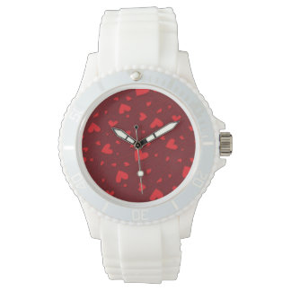 Red curly hearts wrist watch