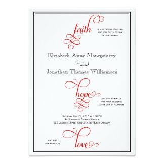 Red Curly Script Faith Hope & Love Wedding Card