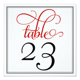 Red Curly Script Table Number Card