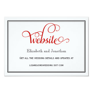 Red Curly Script Wedding Website Card