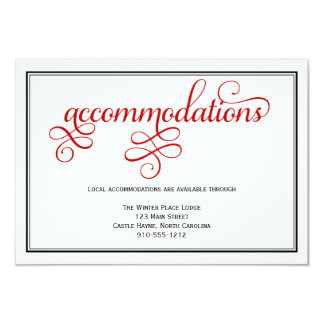 Red Curly Wedding Accommodations Card