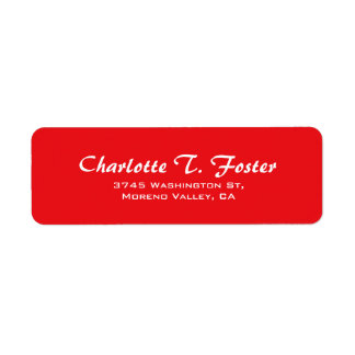 Red Curve Brush Script Elegant Minimalist Modern Return Address Label