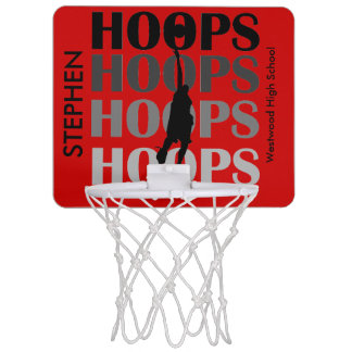 Red Custom Hoops Basketball Mini Hoop