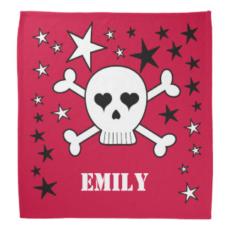 Red Customizeable Cute Skull and Crossbones Bandana
