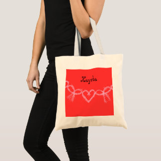 Red customized name Valentine Tote Bag