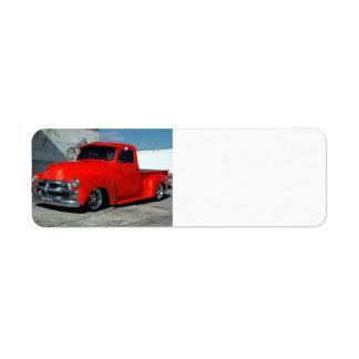 Red Customized Pickup Truck Return Address Label