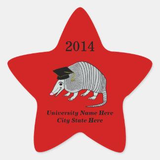 Red Cute Armadillo Star Graduation Star Sticker