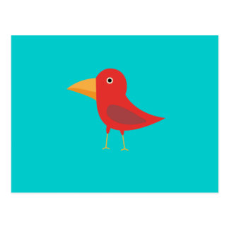 Red cute bird postcard