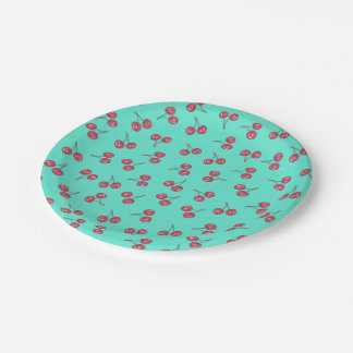 Red Cute Cherry Illustration Pattern Bright Teal 7 Inch Paper Plate
