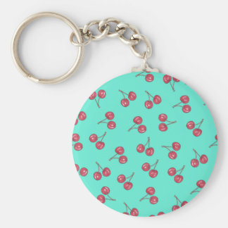Red Cute Cherry Illustration Pattern Bright Teal Basic Round Button Keychain