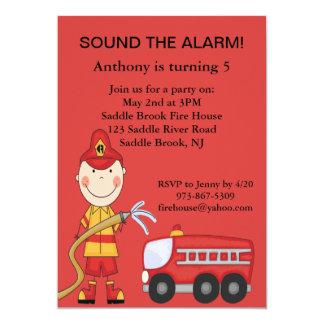 Red, Cute Fireman Boys Birthday Invitation