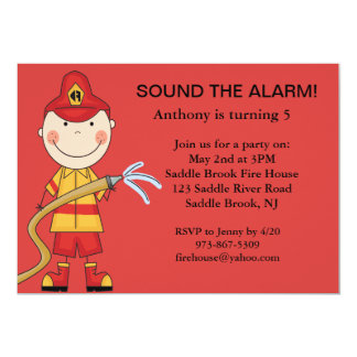 Red, Cute Fireman with Hose Birthday Invitation