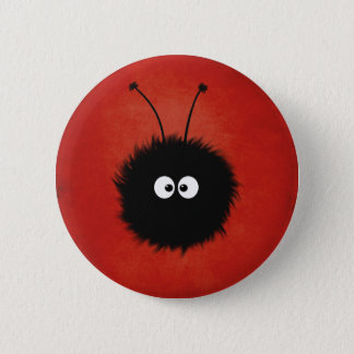 Red Cute Fluffy Dazzled Bug Character 2 Inch Round Button