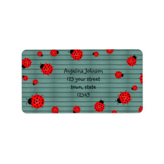 Red Cute Ladybugs Address Label