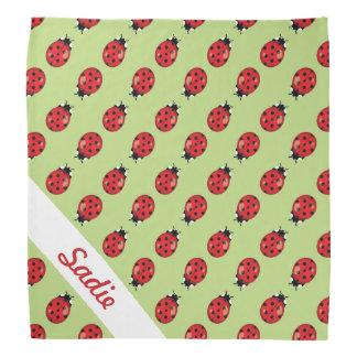 Red Cute Ladybugs Pattern With Custom Name Bandana