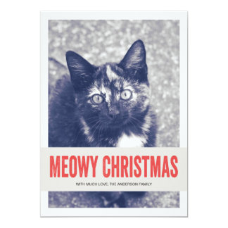 "Red Cute Meowy Christmas Pet Photo Flat Cards 5"" X 7"" Invitation Card"