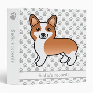 Red Cute Pembroke Welsh Corgi Custom Pet Records Vinyl Binders