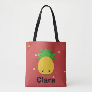Red cute pineapple tote bag