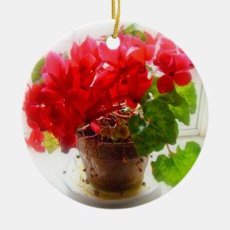 Red Cyclamen Flowers Round Ceramic Ornament