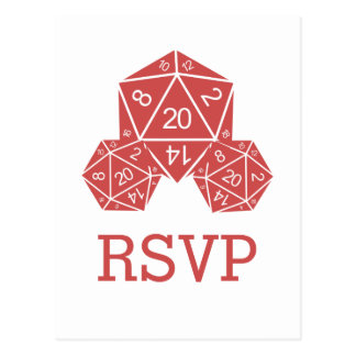 Red D20 Dice Response Postcard