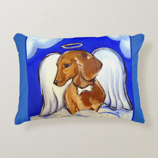 Red Dachshund Angel Accent Pillow