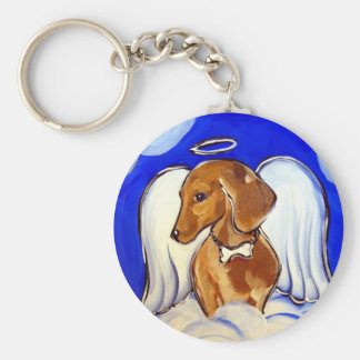 Red Dachshund Angel Keychain