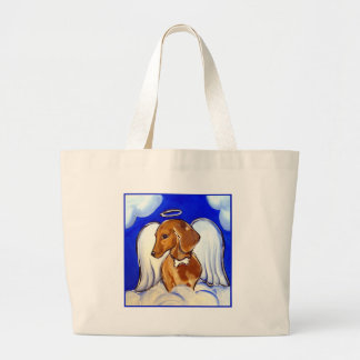 Red Dachshund Angel Large Tote Bag