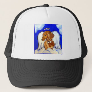 Red Dachshund Angel Trucker Hat