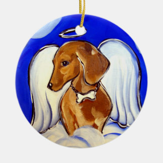 Red Dachshund Ceramic Ornament