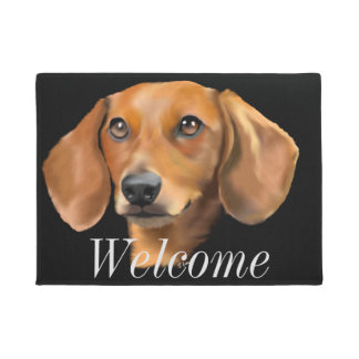 Red Dachshund Dog Doormat