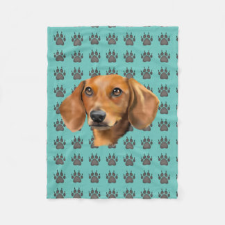 Red Dachshund Dog Fleece Blanket