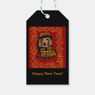 Red Dachshund Dog of the Year Gift Tags