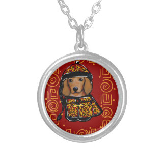 Red Dachshund Dog of the Year Silver Plated Necklace