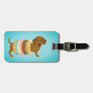 Red Dachshund with Donut Rings Luggage Tag