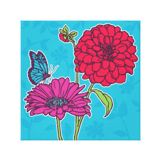 Red dahlia and pink daisy with butterfly on blue canvas print