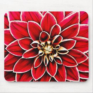 Red Dahlia Floral Flower Petals Blossoms Garden Mouse Pad