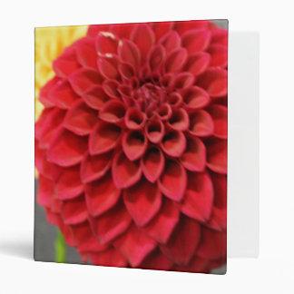 Red Dahlia Flower 3 Ring Binder