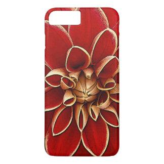 Red dahlia flower illustration iPhone 7 plus case