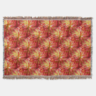 Red Dahlia Flower Nature Art Pattern Throw Blanket
