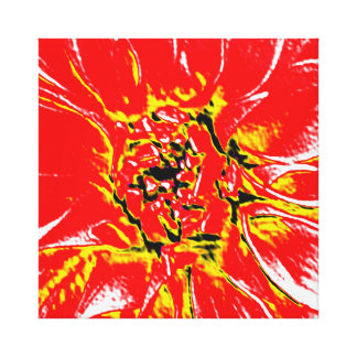 Red Dahlia Flower on canvas