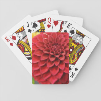 Red Dahlia Flower Playing Cards