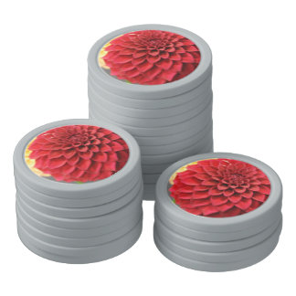 Red Dahlia Flower Poker Chips