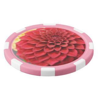 Red Dahlia Flower Poker Chips