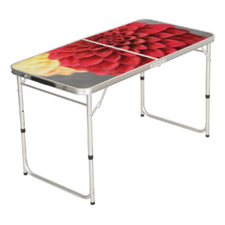 Red Dahlia Flower Pong Table